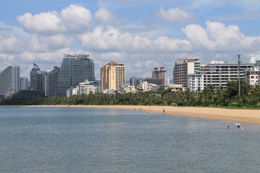 Китай Хайнань Вид с моря Санья бей